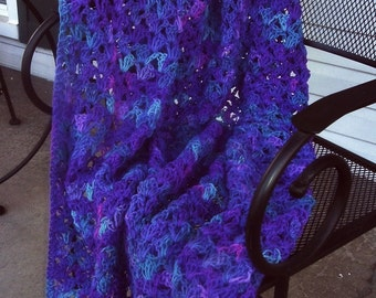 Hand Crocheted Decorative Afghan Blanket Throw Grape Fizz Color Purples