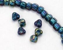 5/0 Grey-Green Lined Shimmer Blue AB Miyuki Triangle Seed Bead (20 gram) #TC1831