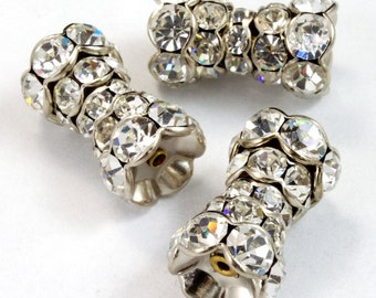 17mm Vintage Swarovski Encrusted Dog Bone Bead #XSR003