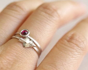 cupids arrow ring . heart and arrow ring . arrow heart ring . valentine's day jewelry . tiny heart ring . love ring // 4SMTN