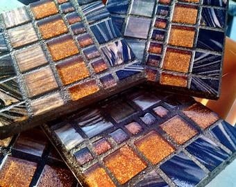 Sale Handmade Mosaic COASTERS Rich chocolate browns colors metallic italian glass tile