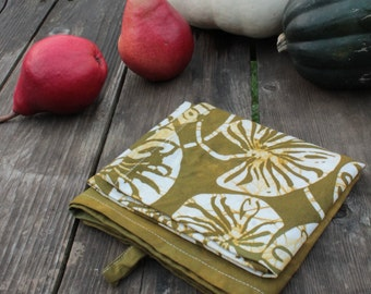 olive green lilypad batik tea towel