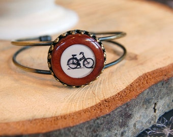 wood and brass bangle bracelet- black and white bicycle design - adjustable