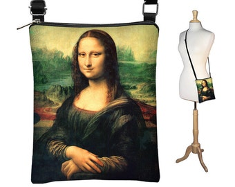 Small Cross Body Purse  Mona Lisa  Crossbody Bag Sling Shoulder Bag  eReader Case Da Vinci RTS