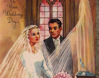 Vintage 1940's UNUSED On Your Wedding Day Greetings Card (B14)