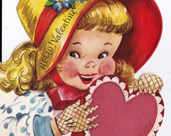 Vintage 1950's Hello Valentine Greetings Card (B7)