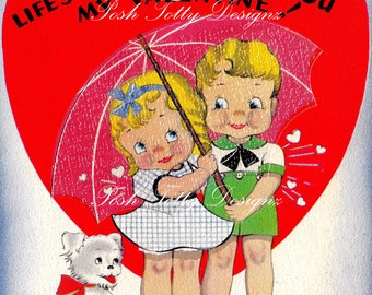 Valentine I'd Like To Share Life Storms With You Vintage Digital Download Printable Image (470)