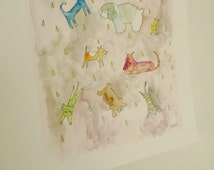 It's Raining Cats and Dogs Art Print, Dogs and Cats Wall Decor, Nursery Decor, Archival 8 x 10