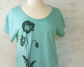 Womens Eco Heather T-Shirt with Poppies - Screen Printed -  Turquoise