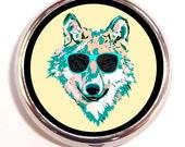 Psychedelic Wolf Sunglasses Pill Box Case Pillbox Rave Hippie Music Festival Pop Art Neon Colors Animal