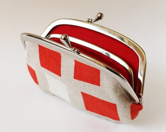 Coin purse wallet - red white squares on natural linen change purse kiss lock purse simple geometric kiss lock purse frame pouch modern