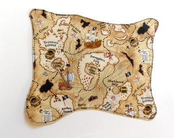 Pirate Treasure Map, Cloth Pirate Map, Reuseable Pirate Map, Toy Pirate Map - Washable Cloth