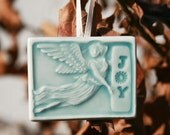 JOY Angel -  Angel holding Joy  - Christmas or holiday ornament for your tree or gift tag for that special someone in your life