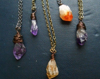 raw intuition - amethyst necklace citrine necklace purple necklace crystal pendulum soft grunge necklace witchy necklace occult jewelry