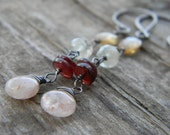 lovely long sunstone, garnet & citrine dangle earrings - oxidized, rustic silver