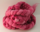 Mini Semi-Solids, 1 oz. - ROSE - Hand Dyed Merino Wool Combed Top Roving, Spinning Fiber Kettle Painted Scrap Needle Felting  Braid