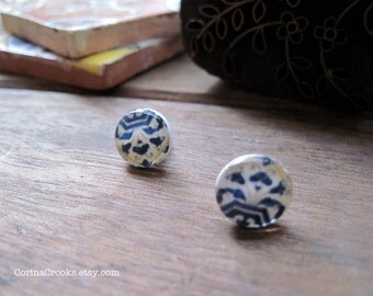 Post Earrings, stud earrings, Spanish Portuguese tile post earrings, Iberian Peninsula, Gypsy Boho jewelry, Spain, Portugal, Blue and white
