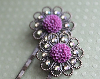 CLEARANCE - Antiqued Brass Hair Pins - Purple Flowers - Swarovski Crystals