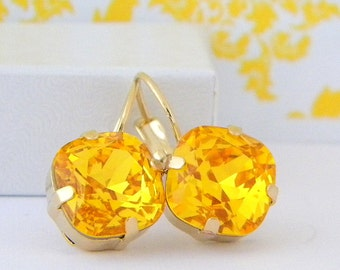 Swarovski Sunflower Yellow Cushion Cut Gold Prong Leverback Earrings
