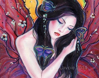 Madame Butterfly 8.5 x 11 inches fantasy asian art by Renee Lavoie