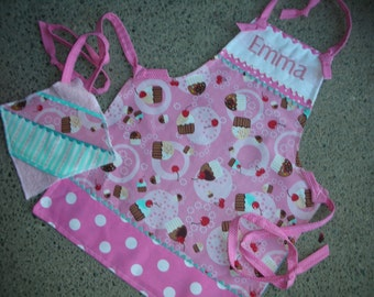 Monogrammed Girls Cupcake Aprons - Girls Aprons - Childrens Aprons - Cupcake Girl Apron - Pink Cupcake Apron - Annies Attic Aprons