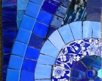 Rhythm in Blues Mosaic made of reclaimed glass, dishes and mirror