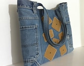 Recycled jean tote bag , Vegan denim handbag , Eco friendly blue jean school tote bag , College girl purse , Laptop bag