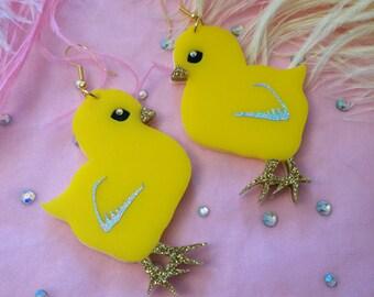Easter Chick Laser Cut Acrylic Earrings