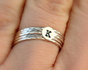Sterling Silver Initial Ring Stack, Personalized Jewelry, Stackable Initial Ring
