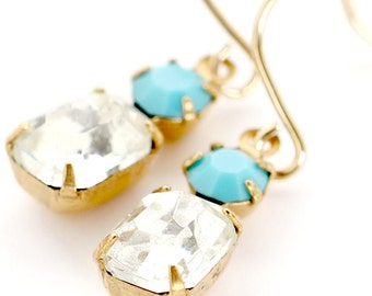 Little Crystal and Turquoise Earrings