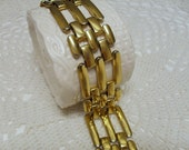 Vintage Monet Bracelet Gold Tone Panther Elongated Rectangular Bar