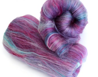 Cotton Candy Hand Carded Batts Dyed fine Merino Wool  Blend 50g 100g
