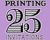 Printing Services for 25 Invitation with envelopes from girlsatplay Etsy girls at play