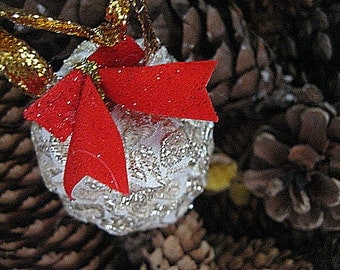GOLD Fabric PINE CONE hanging FoReST ornament