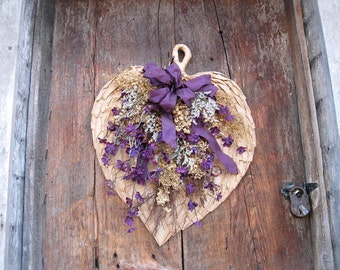 HEART SHAPED FAN in purple for  winter holiday or all year decoration  for door or wall