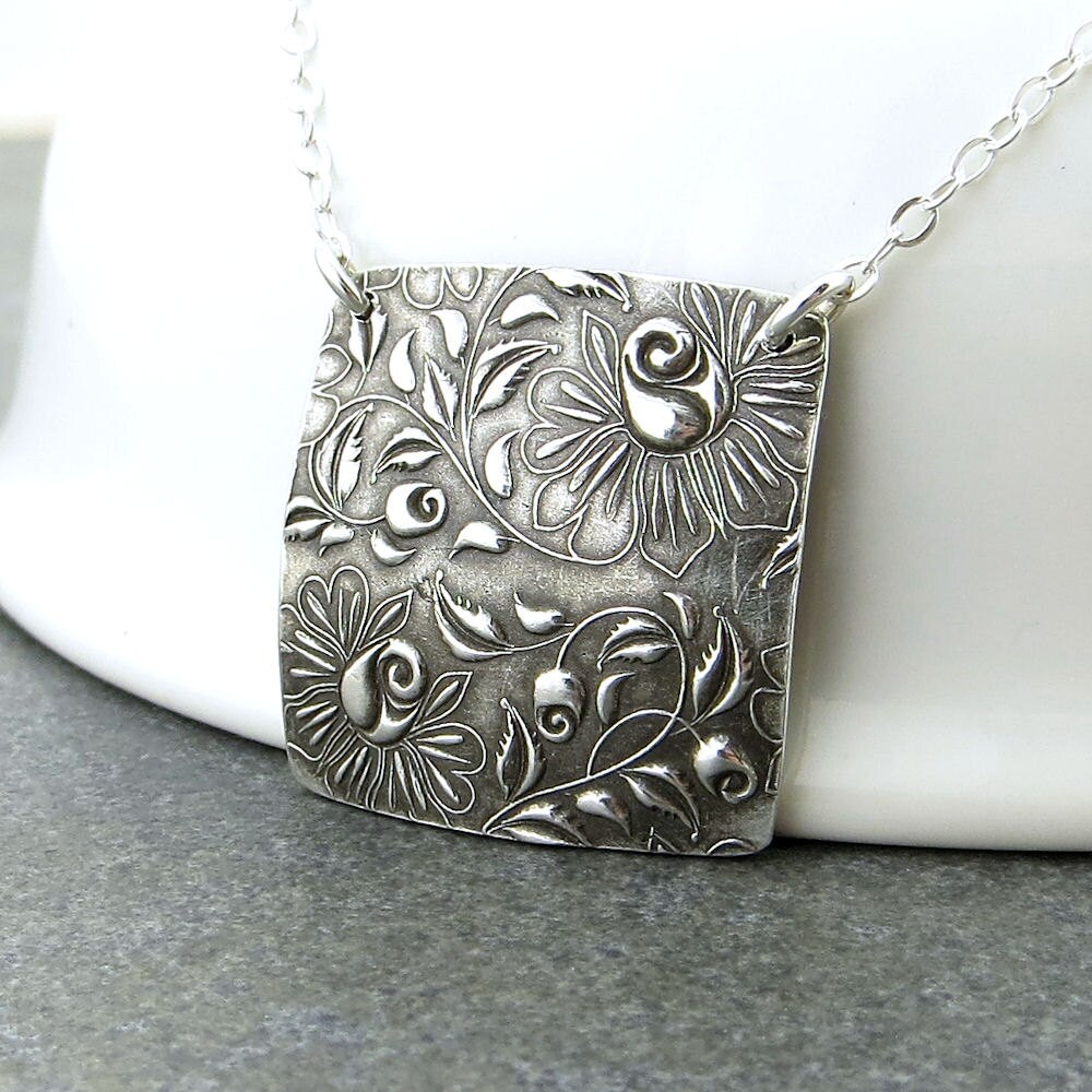 Simple Silver Necklace Pendant Silver Square Necklace Rose