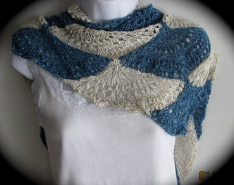 Women's hand knit shawl, pashmina shawl, triangle shawl, silk blend shawl, Ladies shawls, spring summer shawl, in blue and white