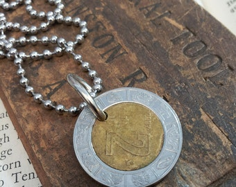 Mexican Coin Upcycled Mens Necklace