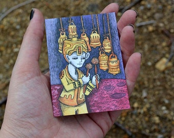 "PRINT of artist trading card  ""The Bellmeister"" by Poxodd ~ Bell ACEO,  ATC, music, instruments, percussion."