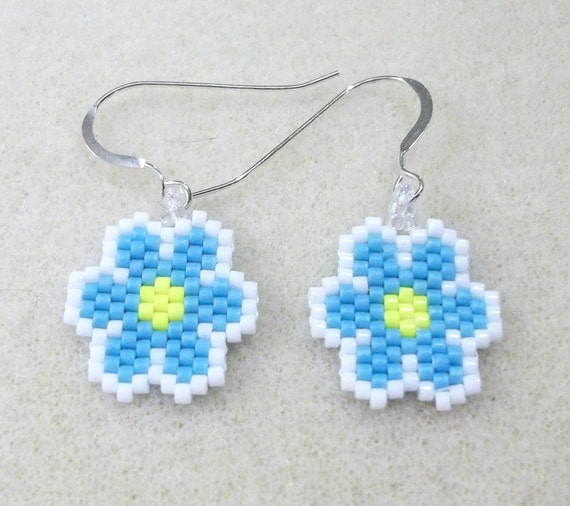 Small Blue Earrings: Small Blue Flowers Seed Bead Earrings Dangle Earrings Flower