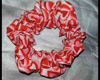 Heart Themed Hair Scrunchie, Hair Tie, Fabric Ponytail Holder, Love Bubbles