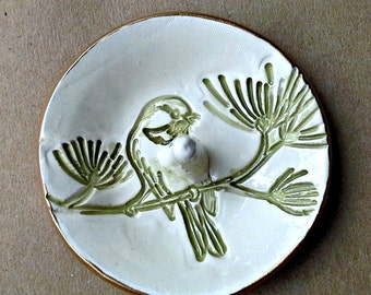 Ceramic Bird Ring Holder Bowl Sage green OFF White background