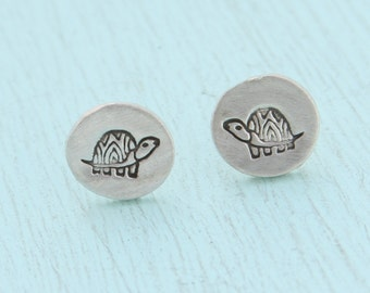 TURTLE studs, Illustration by BOYGIRLPARTY, eco-friendly silver earrings.  Handcrafted by Chocolate and Steel.