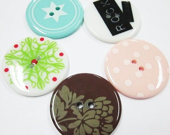 ON SALES 2-hole Jumbo Buttons - 10 pcs SET E