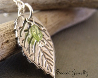 Silver Leaf Necklace, Peridot Gemstone, Sterling Silver Chain Eco Friendly Jewelry, PMC Clay, Rustic Silver Necklace, Botanical Jewelry