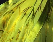 Hand Dyed Silk Shawl in Bamboo Burn Out Devore Pattern in Yummy Lime Tones with Fringe