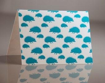 Teal Hedgehog Note Set - Digitally Printed Cards - Pack of 6 Hedgehog Note Cards - Hedgehog Patterned Cards - Small Flat Printed Notes