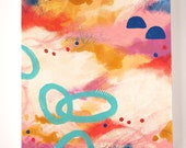 "ABSTRACT painting, Gold, Modern, Pink and Blue, Sky,""Golden Dawn."""