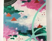 "Abstract painting, Pink and blue, Modern, Geometric, ""Universal Skies."""