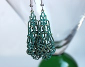 Patina Green Filigree Dangle Statement Earrings on Silver Finished Surgical Steel Earwires